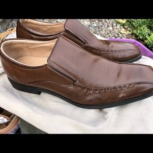 Brutini Deep Cognac Leather Slip In Loafers 9